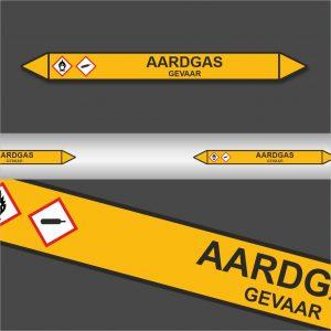 Leidingstickers Leidingmarkering Aardgas (Gassen)