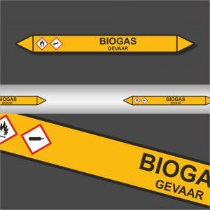 Leidingstickers Leidingmarkering Biogas (Gassen)