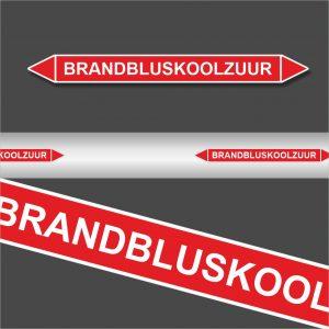 Leidingstickers Leidingmarkering Brandbluskoolzuur (Blusleidingen)