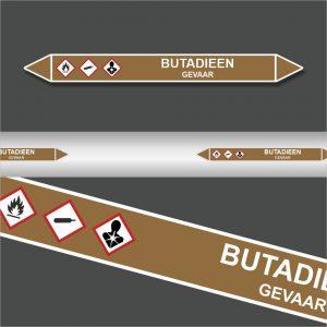 Leidingstickers Leidingmarkering Butadien (Ontvlambare vloeistoffen)