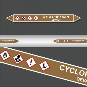 Leidingstickers Leidingmarkering Cyclohexaan (Ontvlambare vloeistoffen)