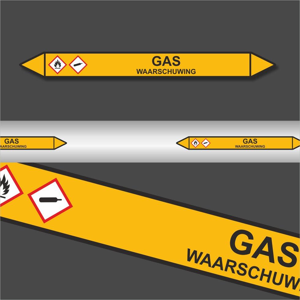 Leidingstickers Leidingmarkering Gas Waarschuwing