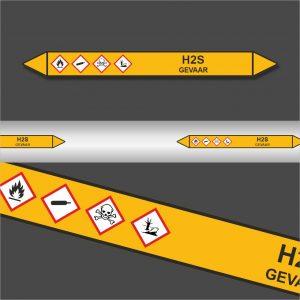 Leidingstickers Leidingmarkering H2S (Gassen)