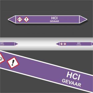 Leidingstickers Leidingmarkering HCl (Basen)