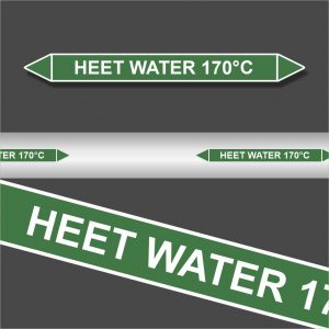 Leidingstickers Leidingmarkering Heet water 170 Graden (Water)