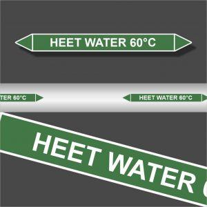Leidingstickers Leidingmarkering Heet water 60 Graden (Water)