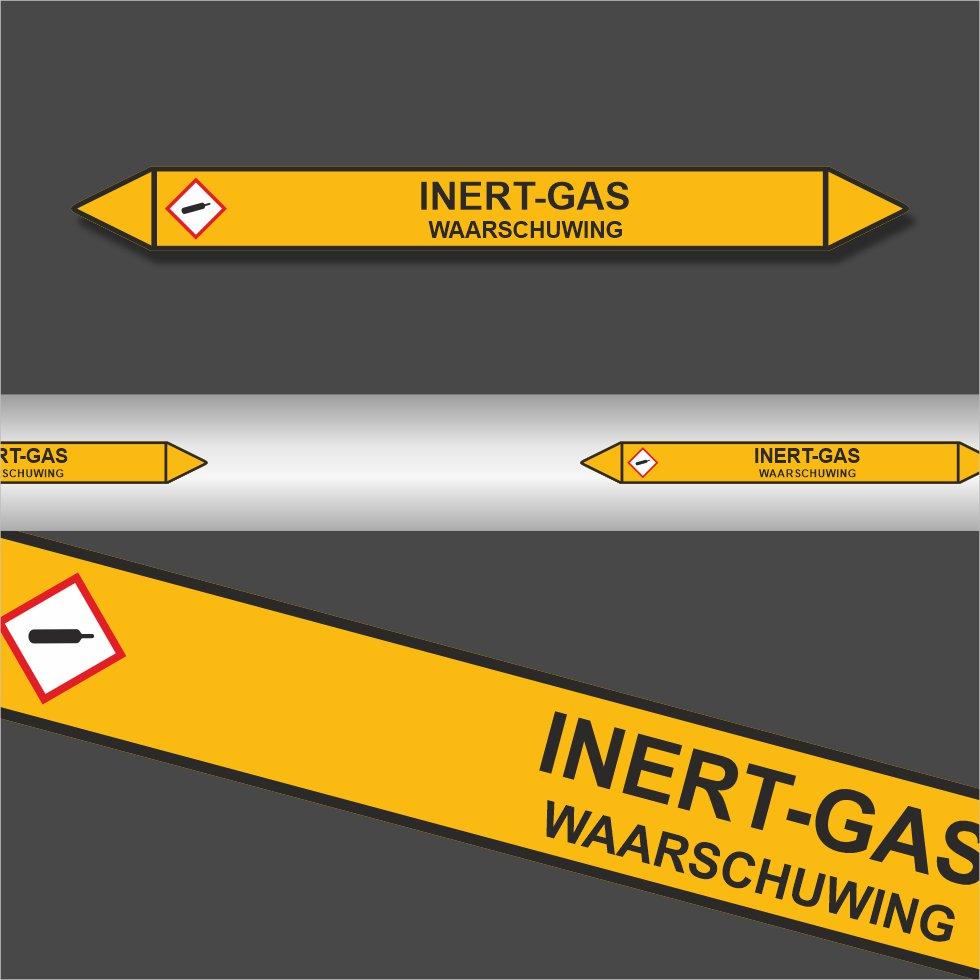 Leidingstickers Leidingmarkering Inert gas (Gassen)
