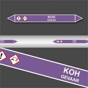 Leidingstickers Leidingmarkering KOH (Basen)