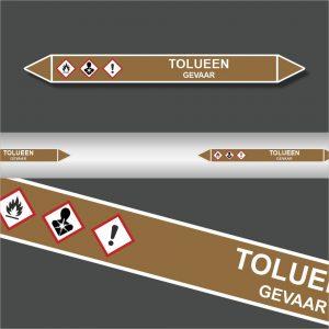 Leidingstickers Leidingmarkering Tolueen (Ontvlambare vloeistoffen)