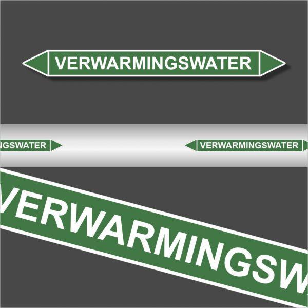 Leidingstickers Leidingmarkering Verwarmingswater (Water)