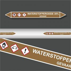 Leidingstickers Leidingmarkering Waterstofperoxide 35% (Ontvlambare vloeistoffen)
