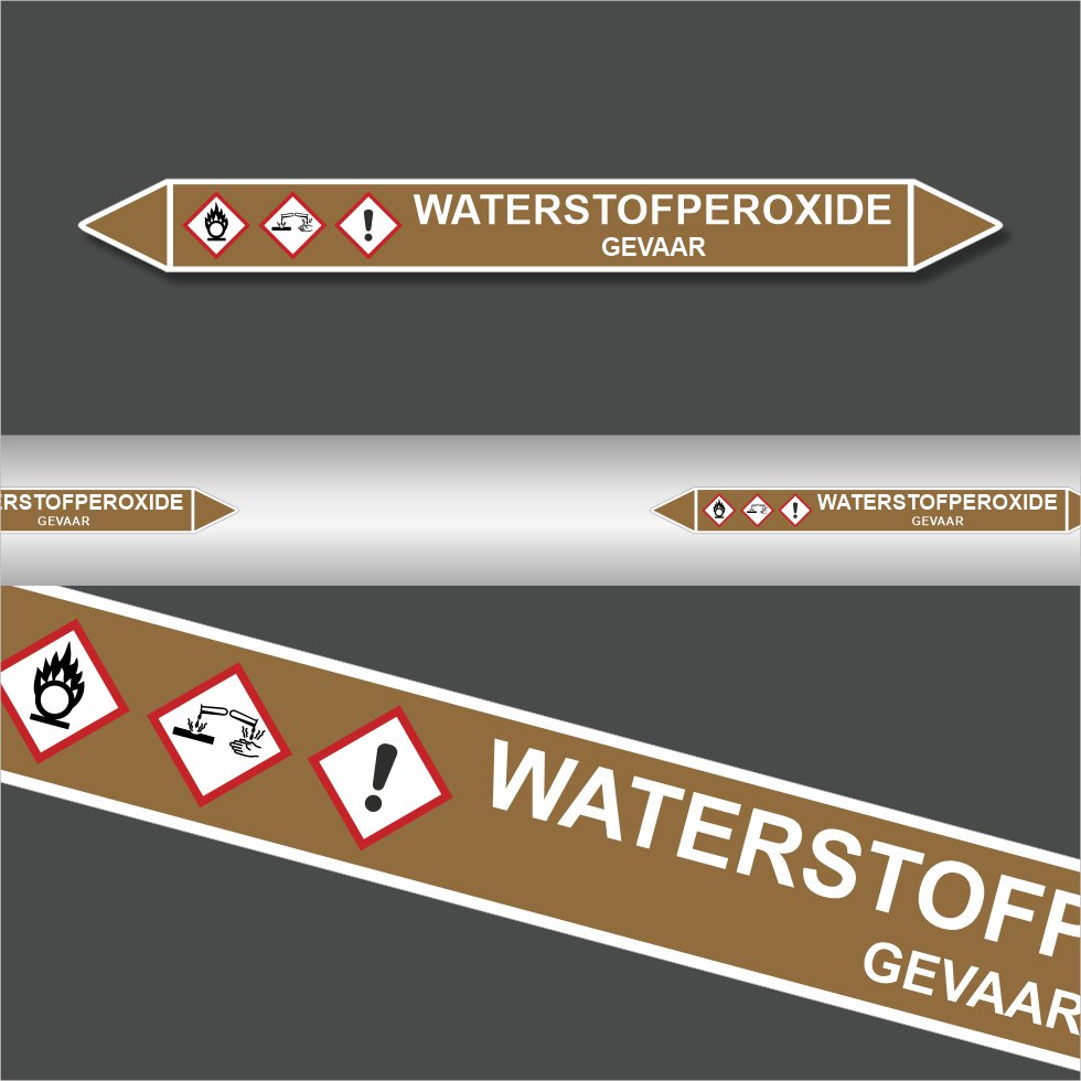 Leidingstickers Leidingmarkering Waterstofperoxide (Ontvlambare vloeistoffen)