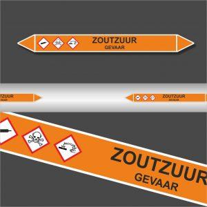 Leidingstickers Leidingmarkering Zoutzuur (Zuren)