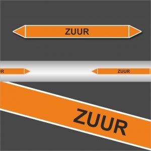 Leidingstickers Leidingmarkering Zuur (Zuren)