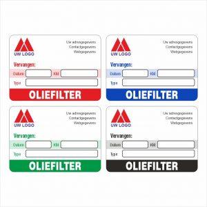 Onderhoud stickers oliefilter vervangen