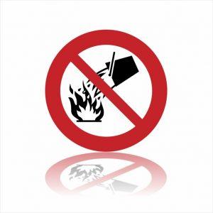 Pictogram niet met water blussen sticker