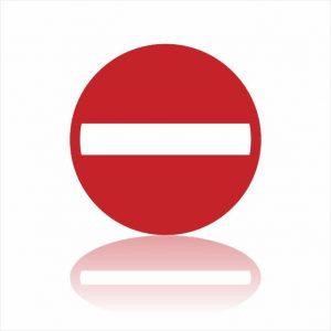 Pictogram verboden richting sticker