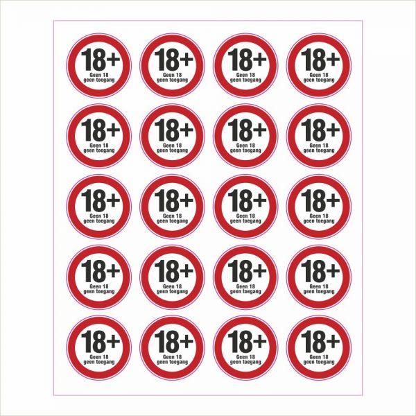 Pictogram 18 plus geen toegang sticker