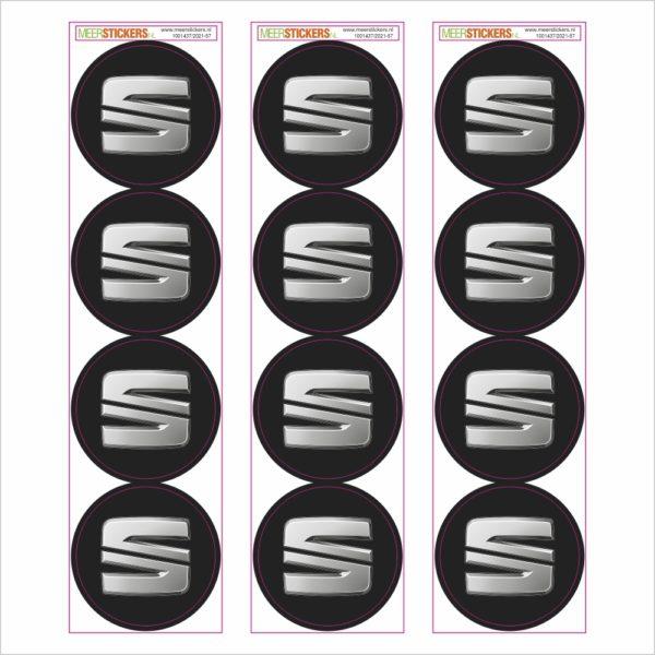 Wielnaaf stickers Seat zwart