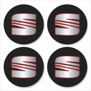 Wielnaaf stickers Seat zwart met rode rand